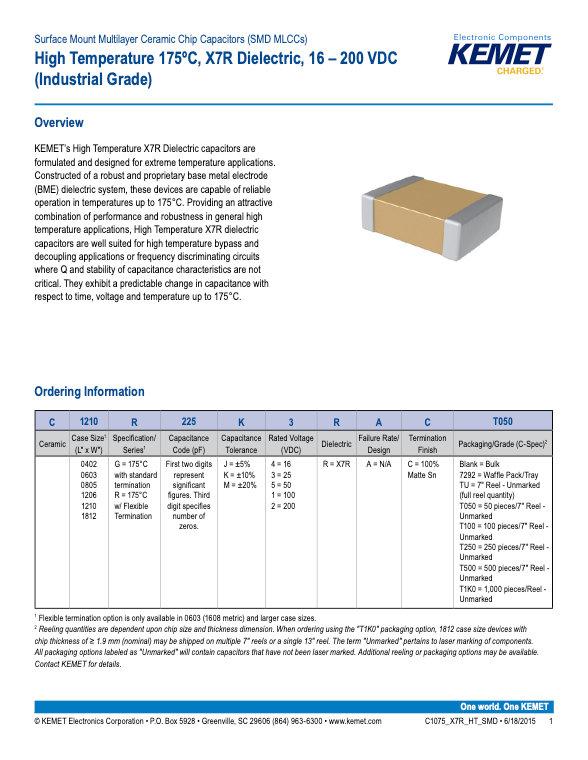 KEMET High Temperature X7R SMT MLC Capacitors