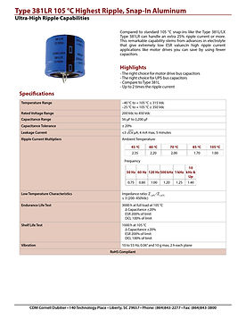 CDE Type 381LR Snap In Aluminum Electrolytic Capacitors