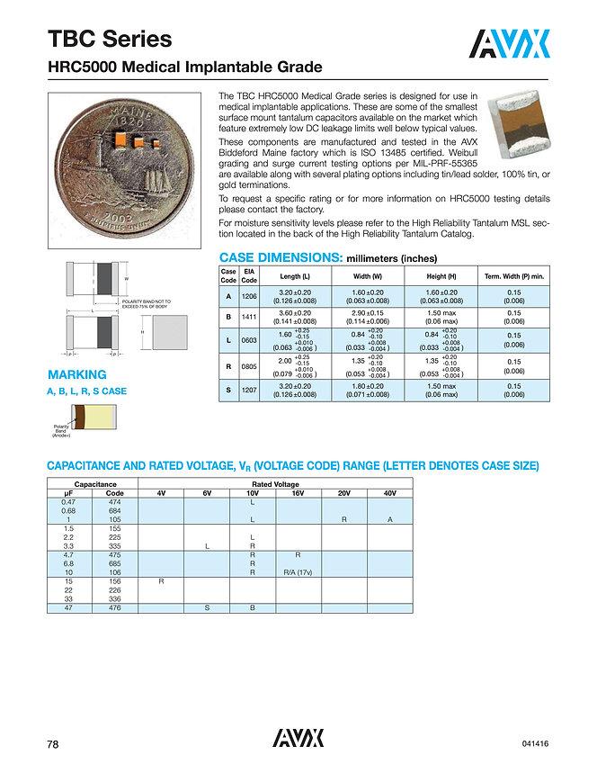 AVX TBC HRC5000 Series Tantalum Capacitors