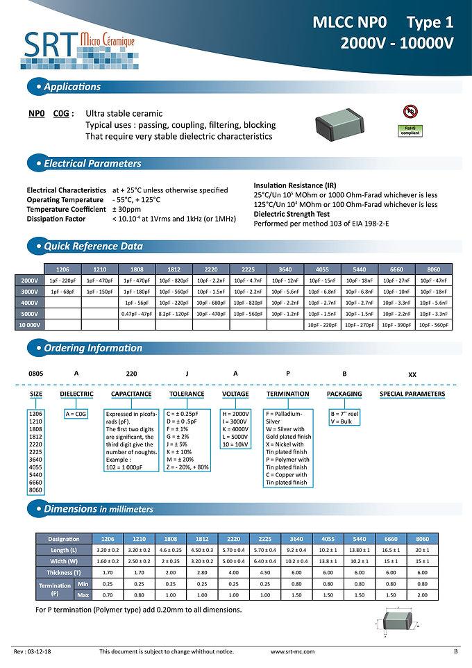 SRT Microceramique NPO 2KVDC - 10KVDC MLC Chip Capacitors