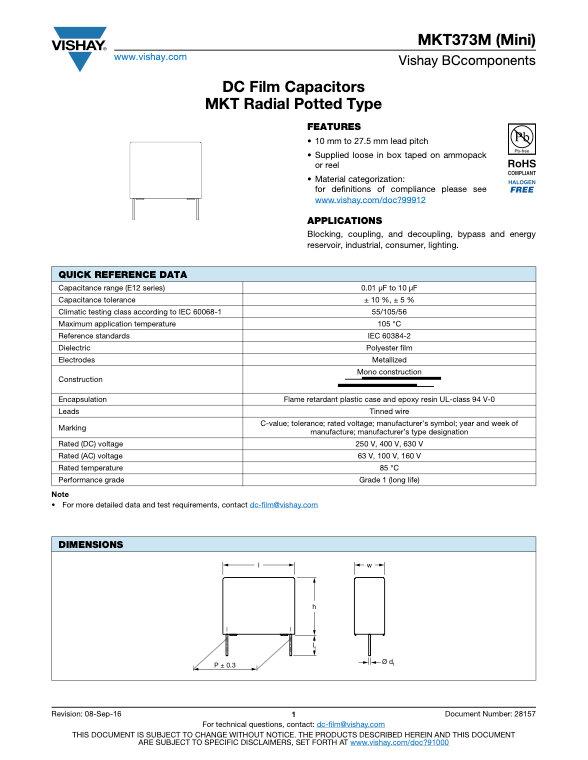 Vishay MKT373 (Mini) Series Plastic Film Capacitors