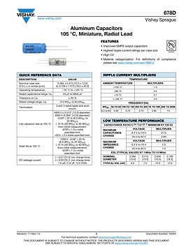 Vishay 678D Series Radial Aluminum Electrolytic Capacitors