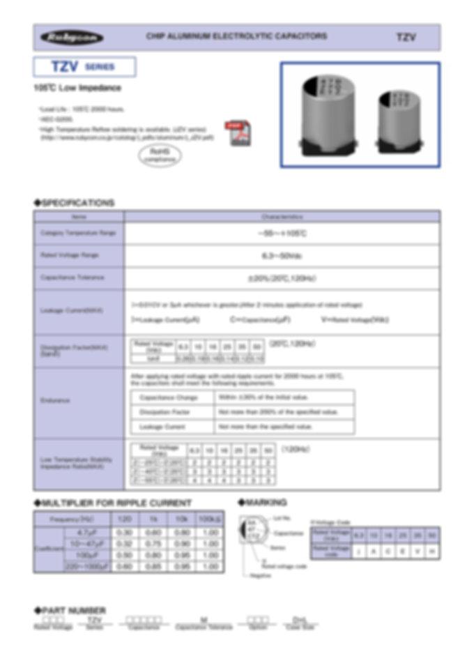 Rubycon TZV Series Aluminum Electrolytic Capacitors