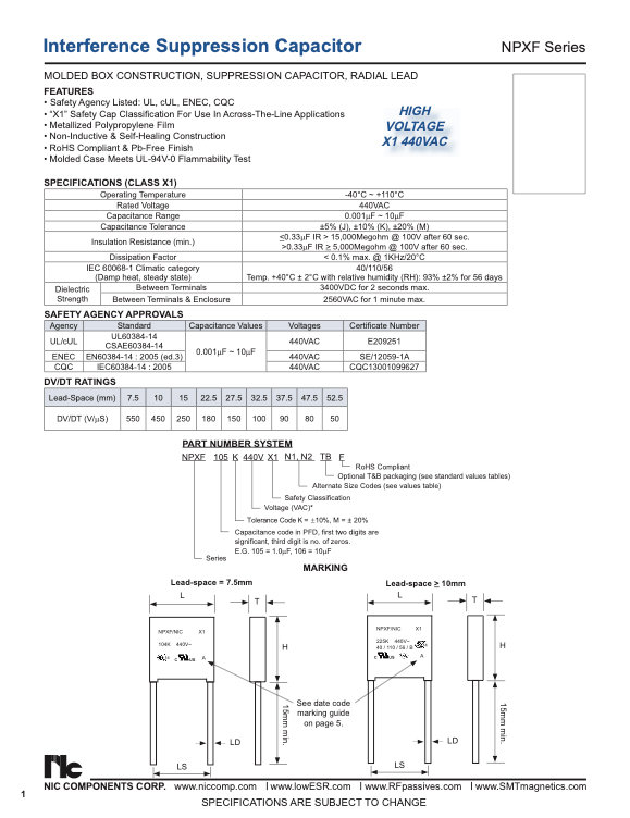 NIC Components NPXF Series Film Capacitors
