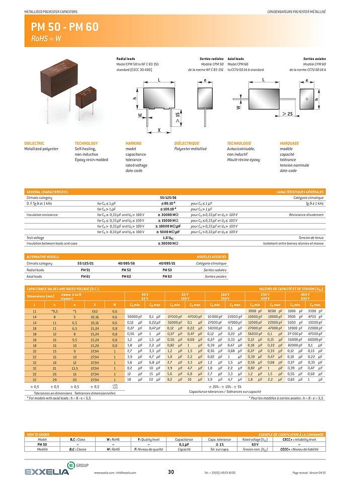 Exxelia PM 50 - PM 60 Series Film Capacitors