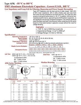 CDE Type AFK Aluminum Electrolytic Capacitors