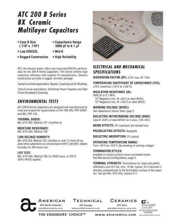 ATC 200B Series BX Ceramic Chip Capacitors