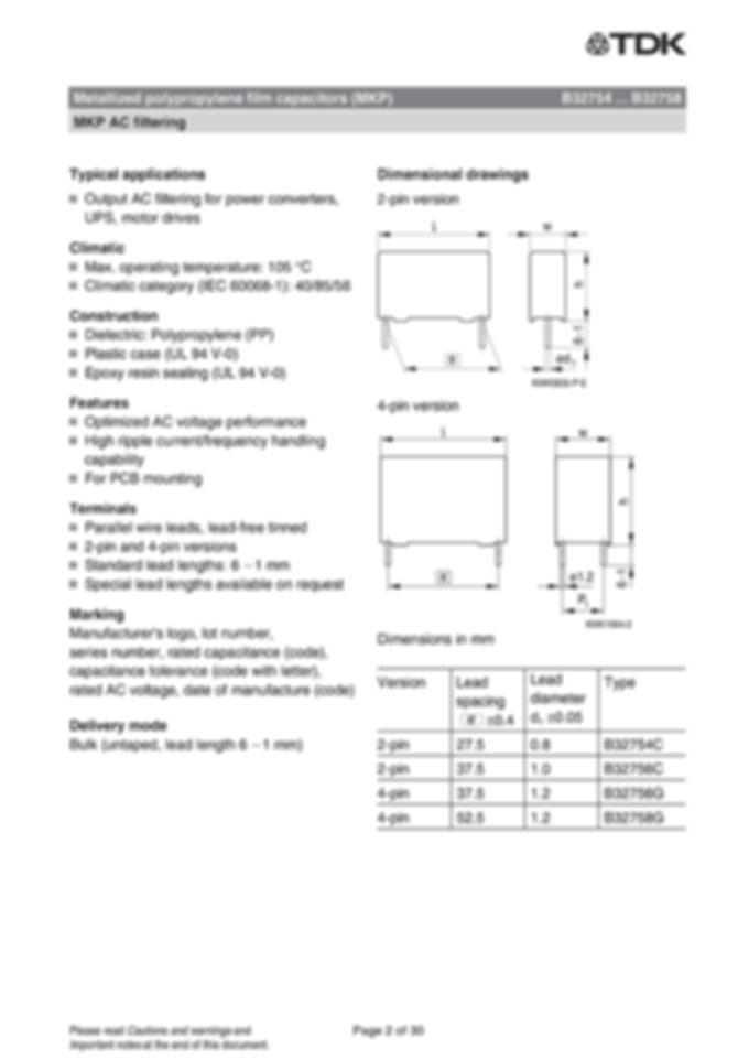 Epcos B32754 Series Film Capacitors