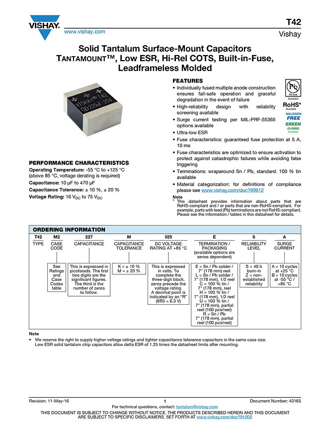 Vishay T42 Series Tantalum Capacitors