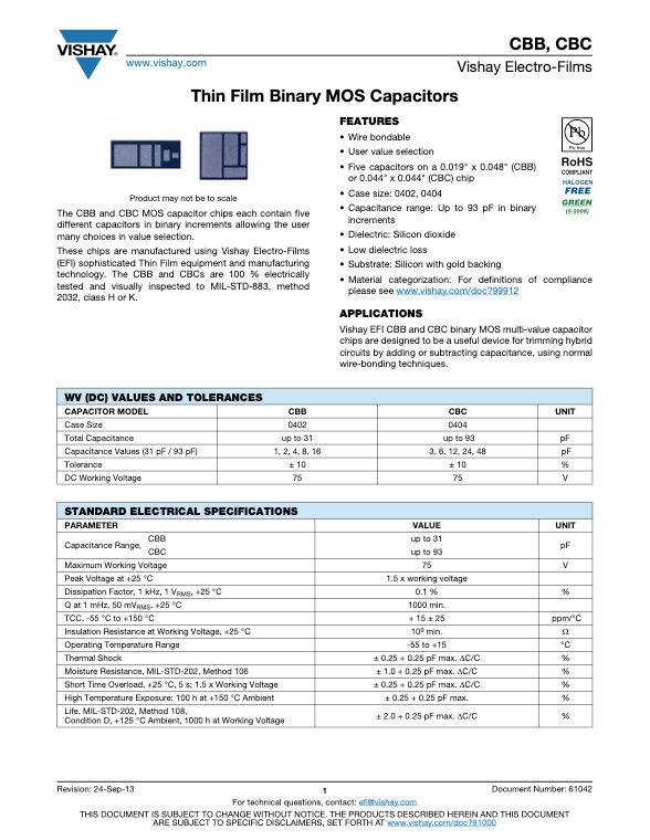 Vishay CBB.CBC Series Thin Film Binary MOS Capacitors