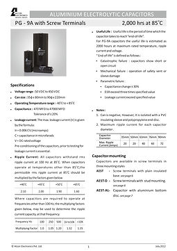 Alcon Electronics PG 9A Series Aluminum Electrolytic Capacitors