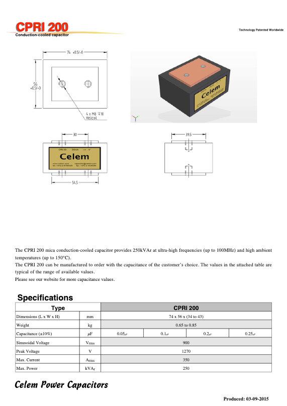 Celem CPRI 200 Series Mica Capacitors