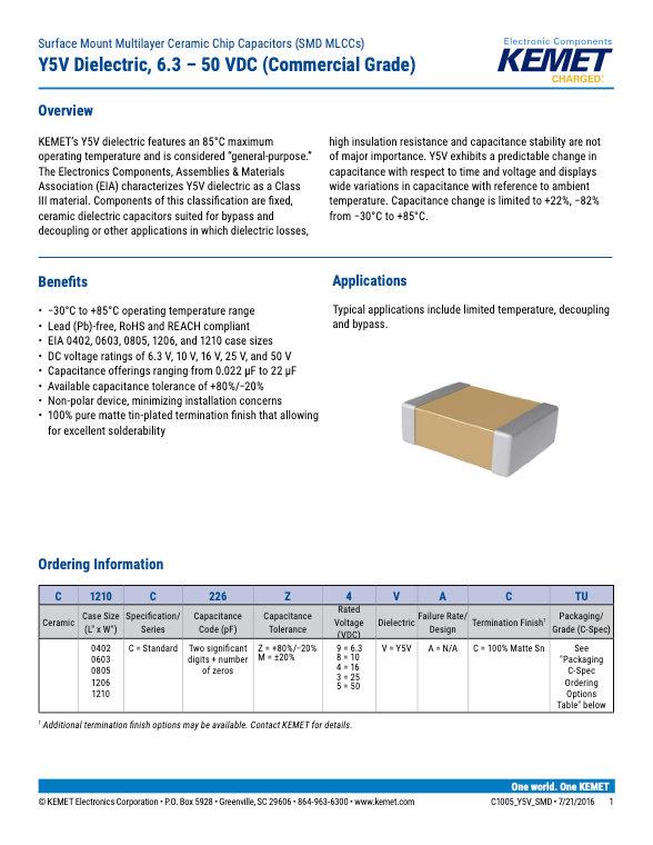 KEMET Commercial Grade SMT Y5V MLC Capacitors