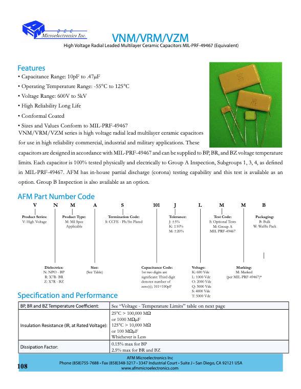 AFM Microelectronics VNM.VRM.VZM Series MLC Capacitors