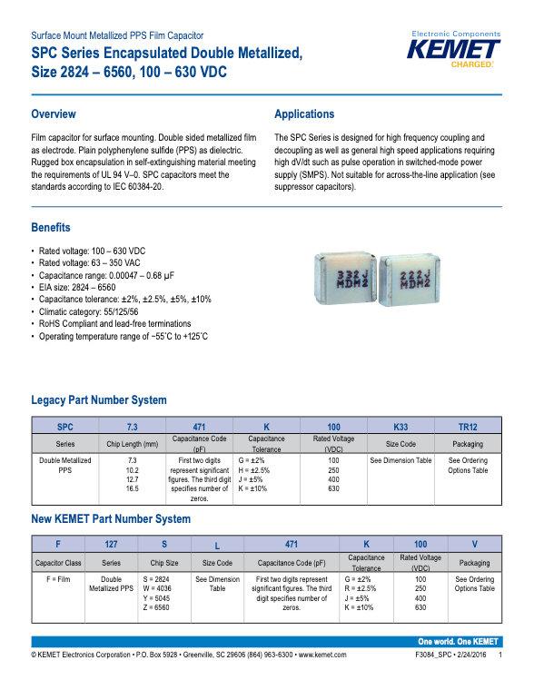 KEMET SPC Series Plastic Film Capacitors