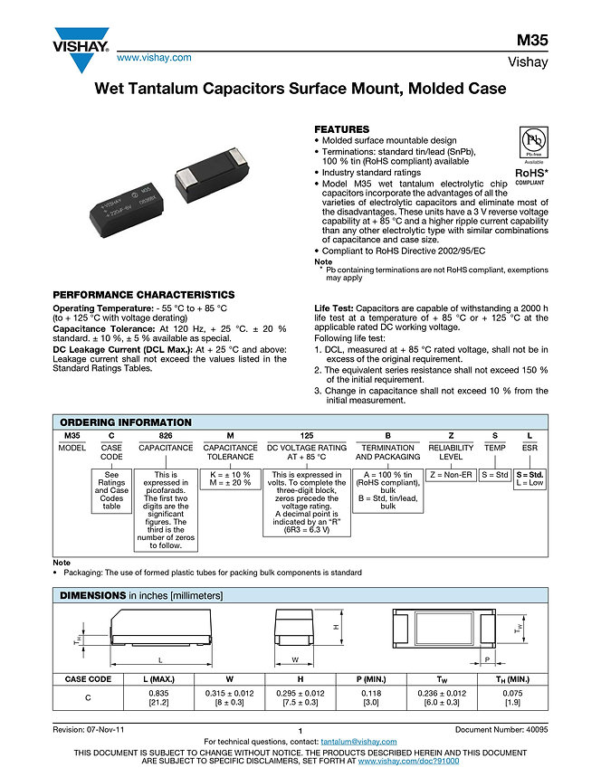 Vishay M35 Series Wet Tantalum Capacitors