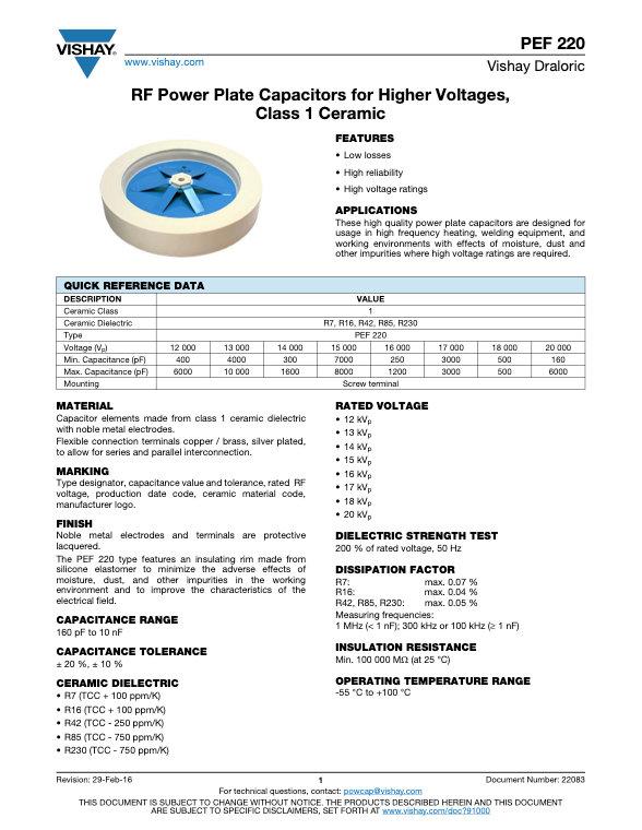 Vishay PEF 220 Series RF Power Ceramic Capacitors