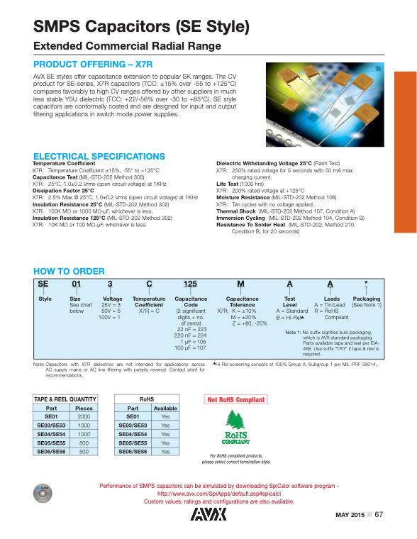AVX SE Style MLC Capacitors