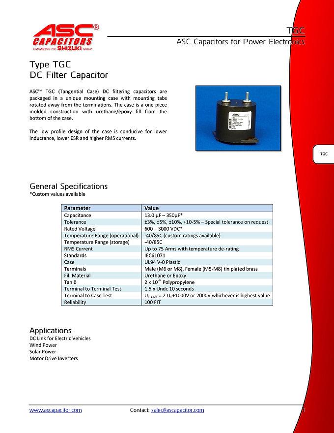 ASC TGC Series DC Filter Capacitors
