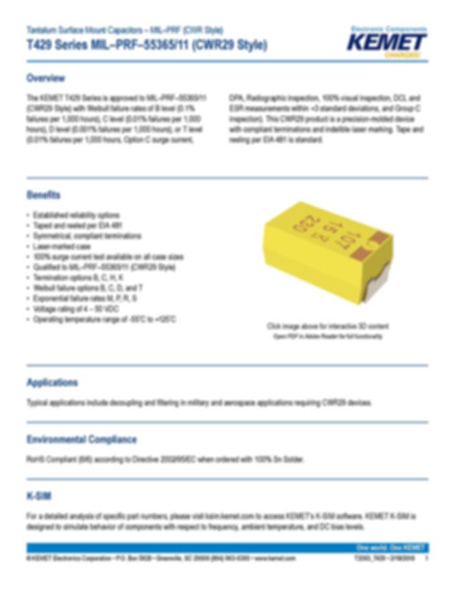 KEMET T429 Series Tantalum Capacitors