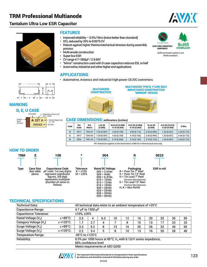 AVX TRM Series Tantalum Capacitors