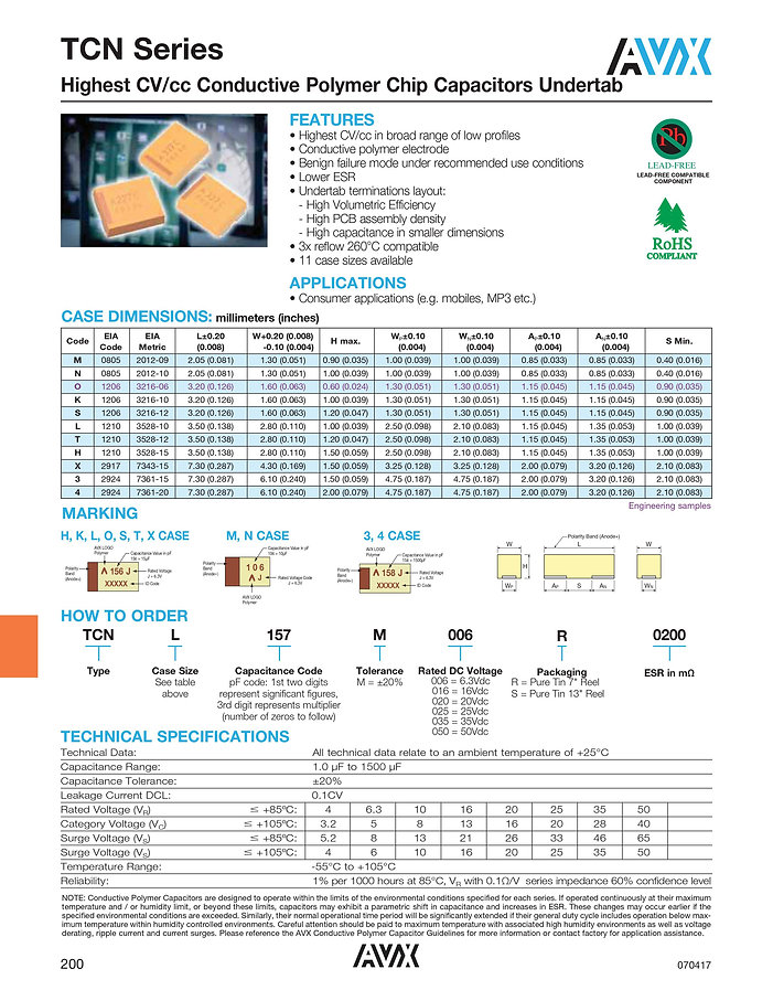 AVX TCN Series Polymer Capacitors