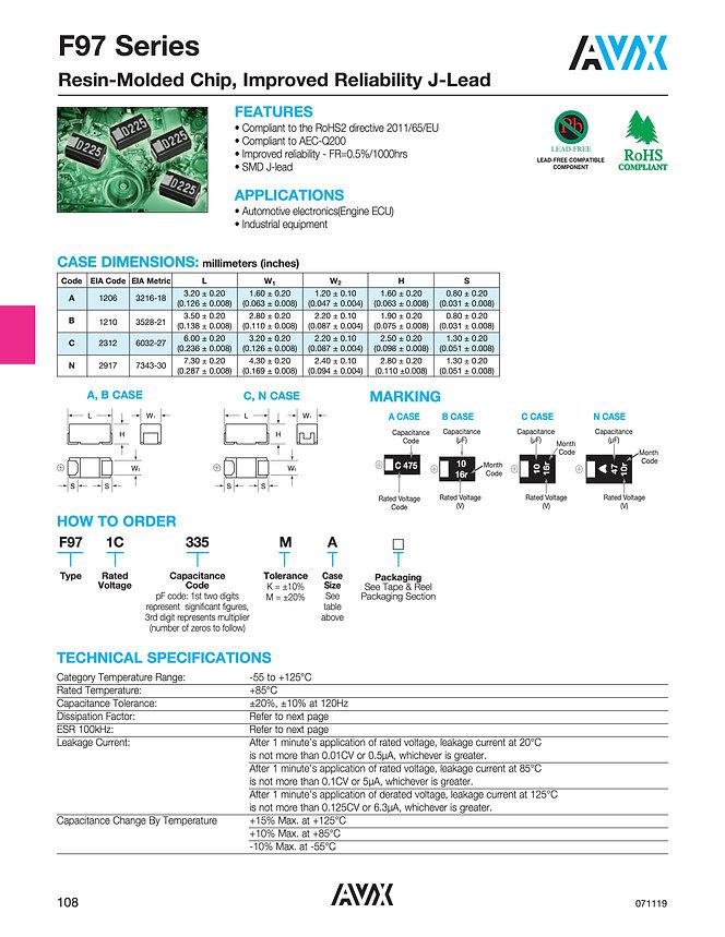 AVX F97 Series Tantalum Capacitors