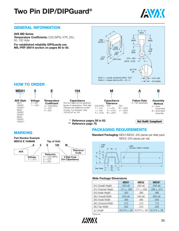 AVX MD Series MLC Capacitors