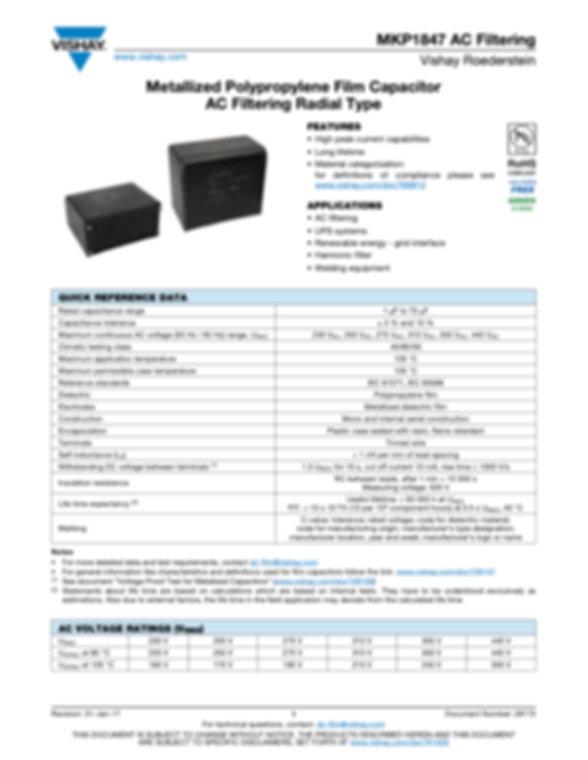 Vishay MKP1847 Series Film Capacitors