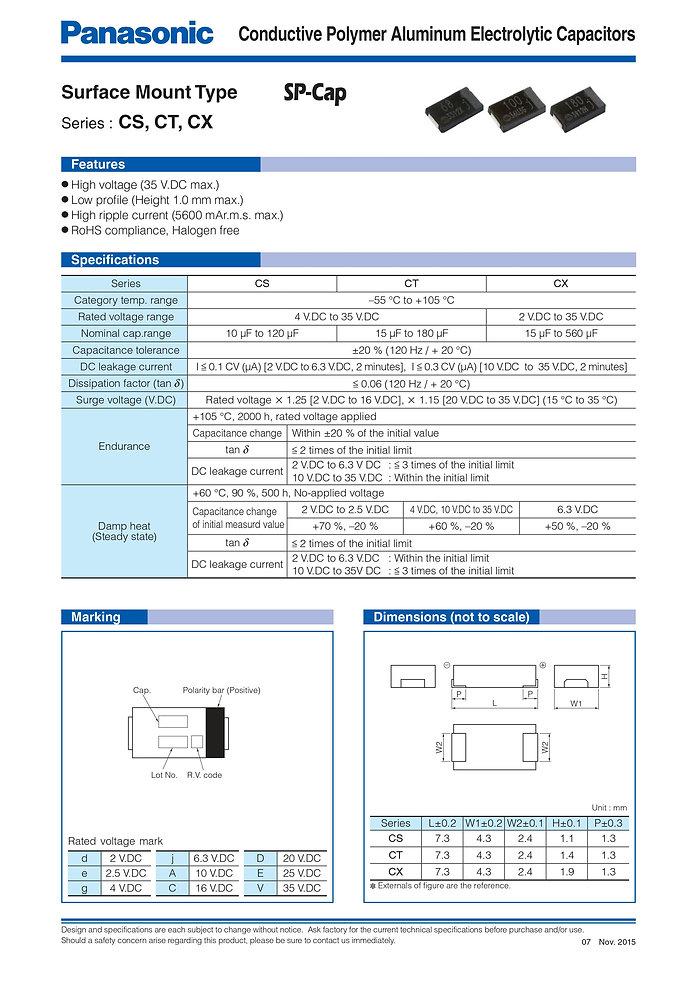 Panasonic CS/CT/CX Series Aluminum Polymer Capacitors