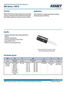 KEMET ESH Series Aluminum Electrolytic Capacitors