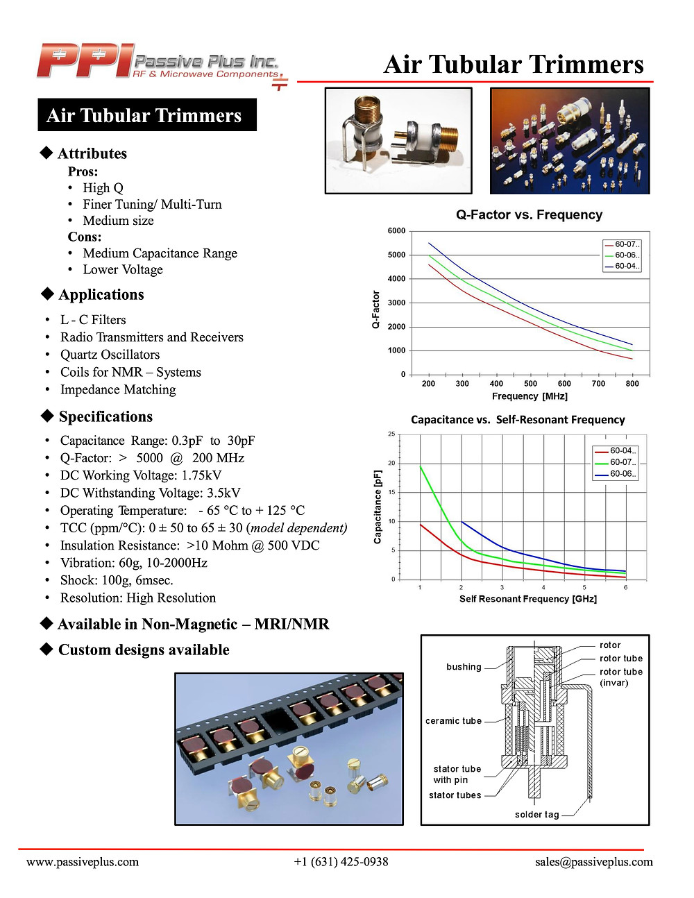 Passive Plus Air Tubular Trimmer Capacitor Data Sheet