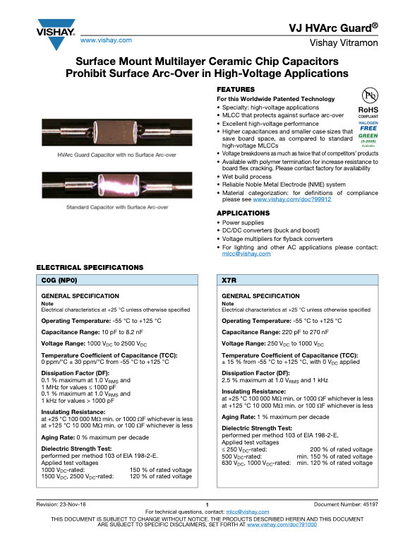 Vishay VJ Hvarc Series MLC Capacitors