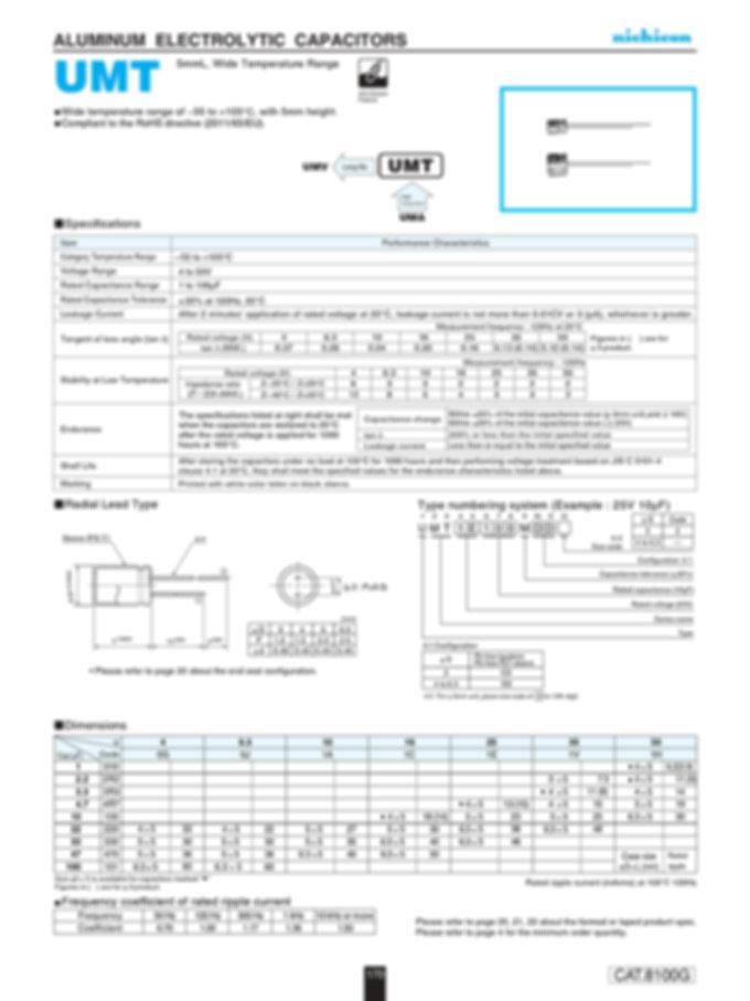 Nichicon UMT Series Aluminum Electrolytic Capacitors