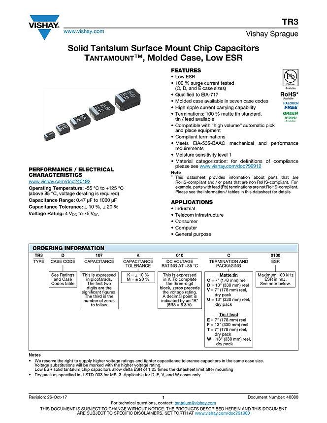 Vishay TR3 Series Tantalum Capacitors