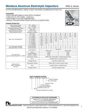 NIC Components NRE JL Series Radial Aluminum Electrolytic Capacitors