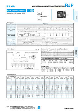 Elna RJP Series Aluminum Electrolytic Capacitors