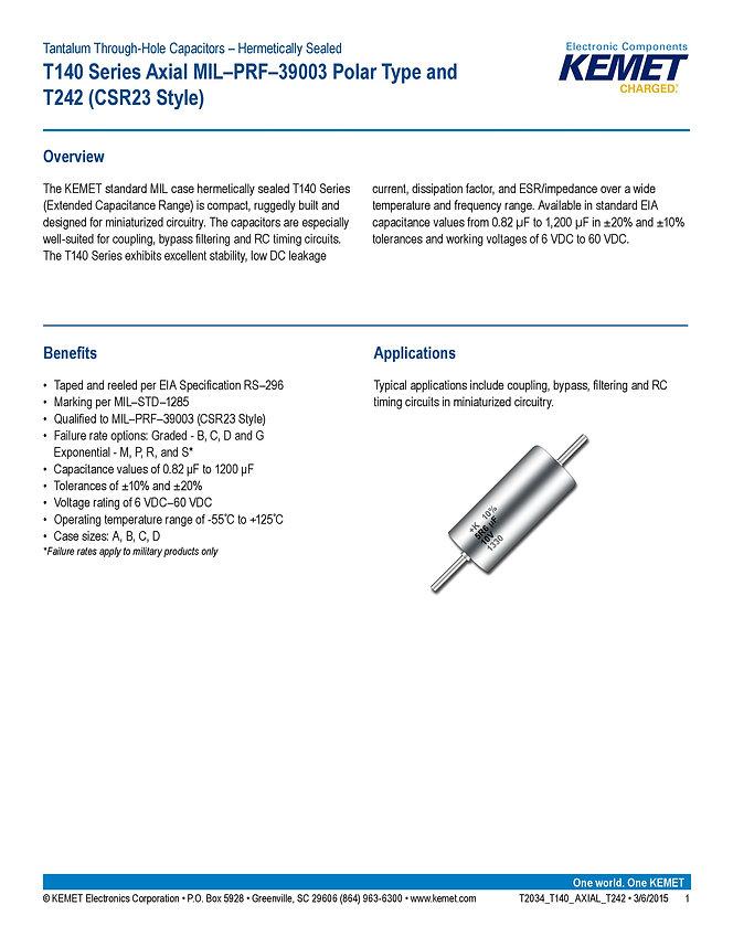 KEMET T140 Series Tantalum Capacitors