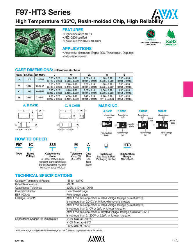 AVX F97-HT3 Series Tantalum Capacitor