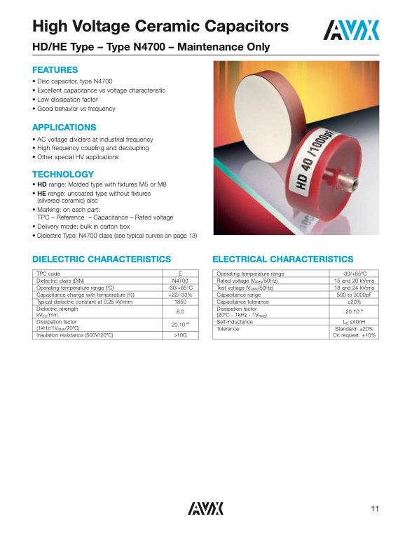 AVX HD/HE Series Ceramic Plate Capacitors
