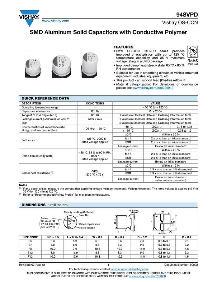 Vishay 94SVPD Series Aluminum Polymer Capacitors