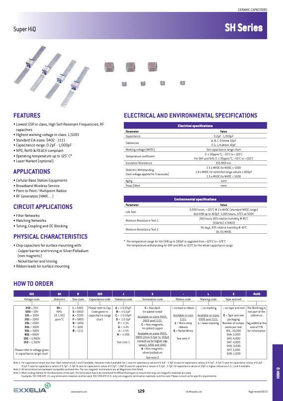 Exxelia SH Series MLC Capacitors