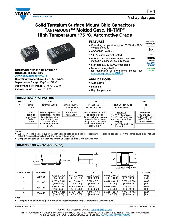 Vishay TH4 Series Tantalum Capacitors