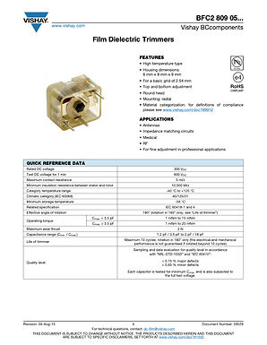 Vishay BFC2 809 Series Trimmer Capacitors