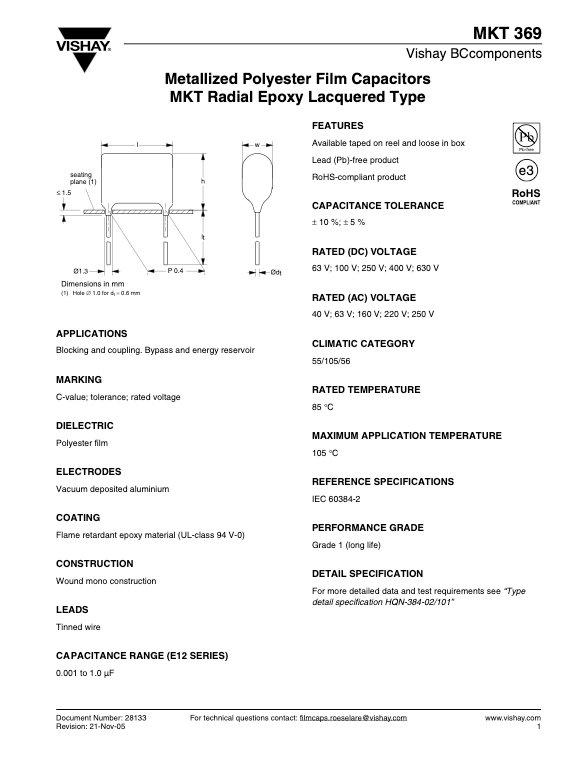 Vishay MKT369 Series Plastic Film Capacitors