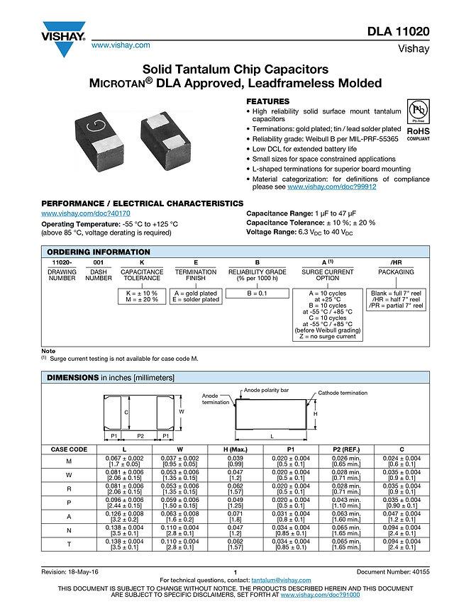 Vishay DLA 11020 Series Tantalum Capacitors