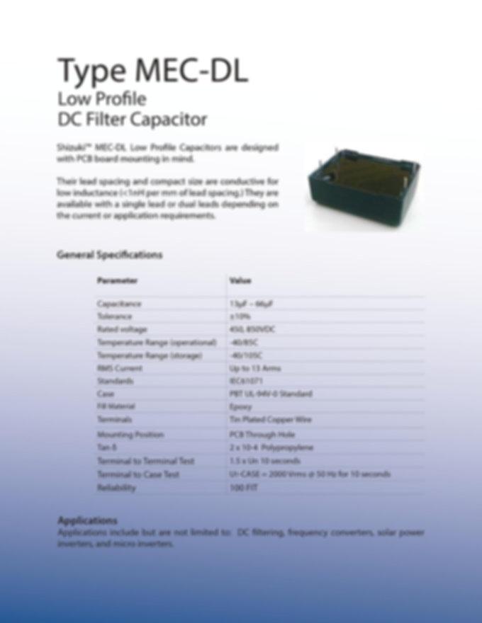 ASC MEC-DL Low Profile Series Film Capacitors