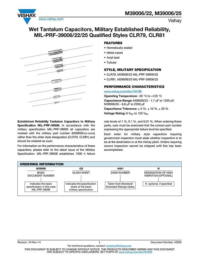 Vishay M39006/22/25 Series Wet Tantalum Capacitors