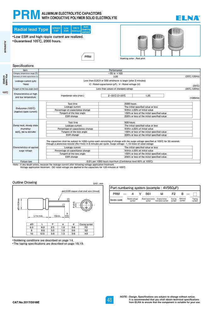 Elna PRM Series Aluminum Polymer Capacitors