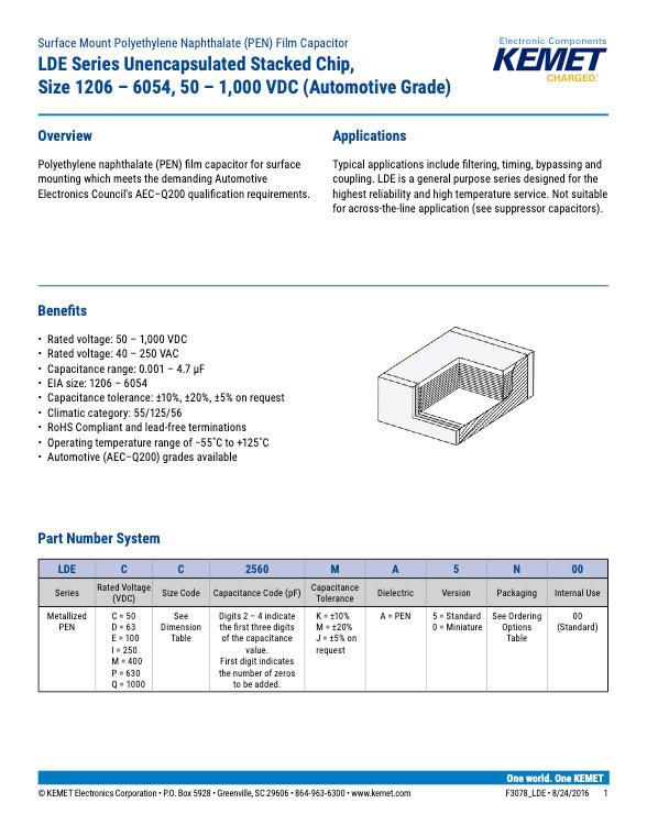KEMET LDE Series Plastic Film Capacitors
